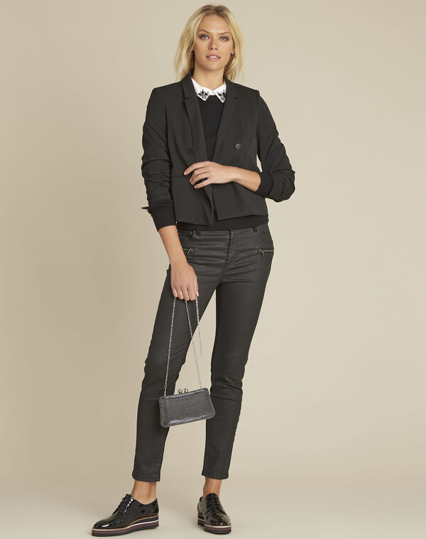 Sarah short black crossover jacket (2) - 1-2-3