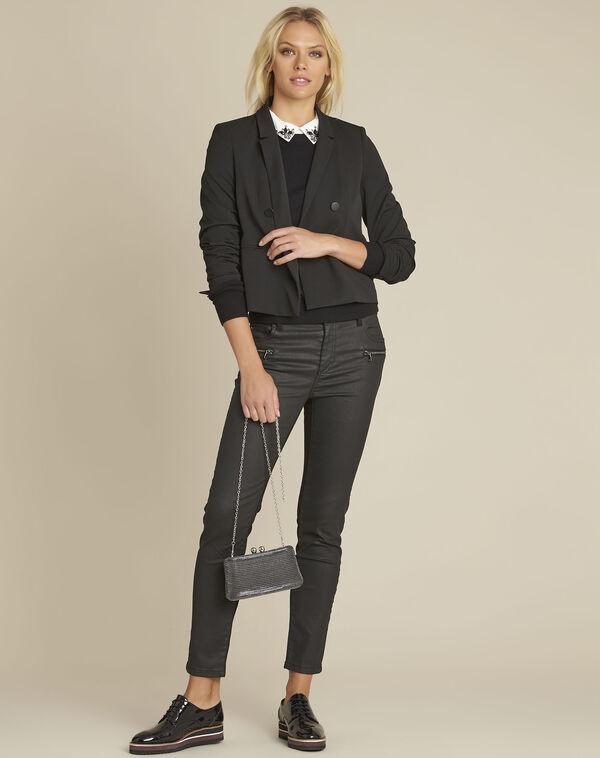 Zweireihige kurze schwarze Jacke Sarah (2) - 1-2-3