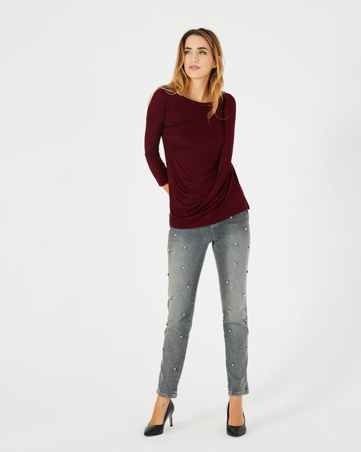 Bree red T-shirt with rounded neckline (1) - 1-2-3