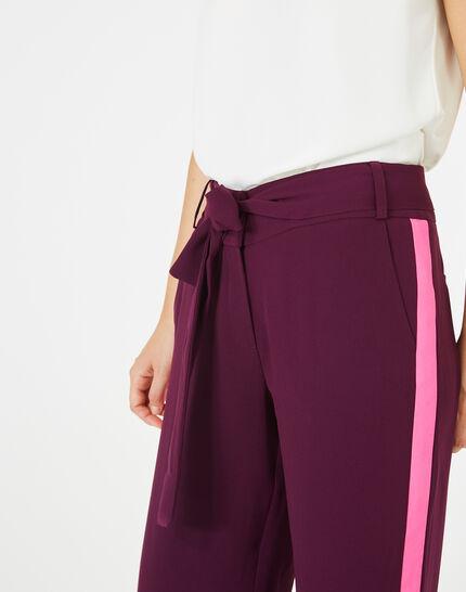 Pantalon cassis fluide bande côté Kamelia (3) - 1-2-3