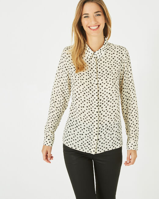 Dolores panther print black and white blouse (2) - 1-2-3