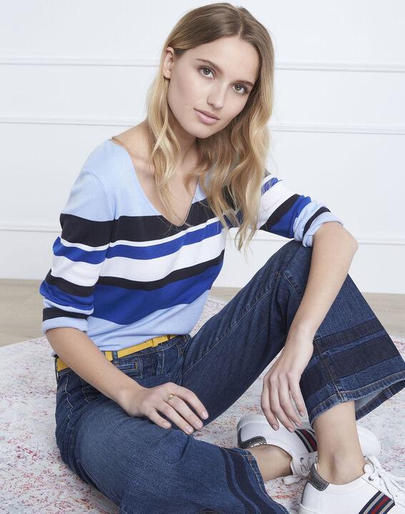 Blaues, gestreiftes T-Shirt mit V-Ausschnitt Gayure (1) - Maison 123