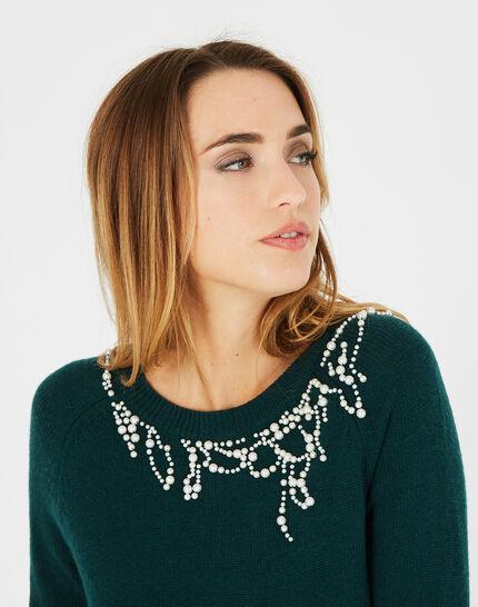 Waldgrüner Pullover aus Woll-Mix mit Perlen Perle (3) - 1-2-3