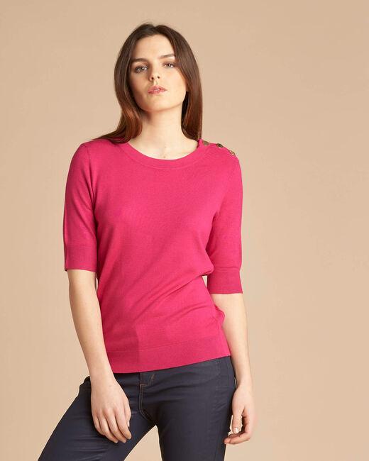 Natacha fuchsia sweater with rounded neckline (2) - 1-2-3