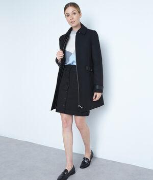 Manteau droit en laine zippé noir Lila