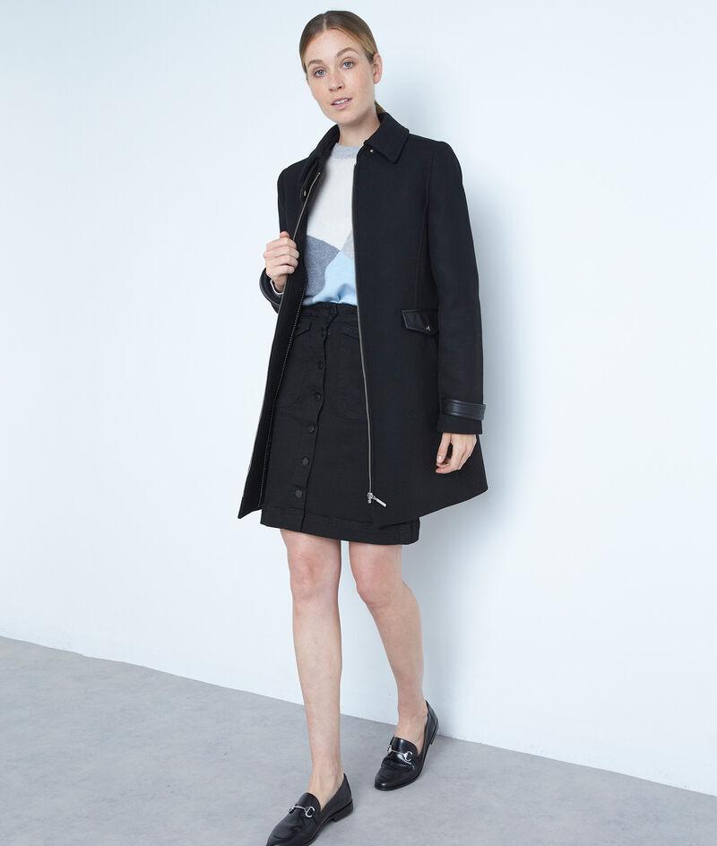 Manteau droit en laine zippé noir Lila PhotoZ | 1-2-3