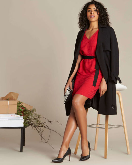 Idylle red dress in grosgrain with frilled detailing (2) - 1-2-3