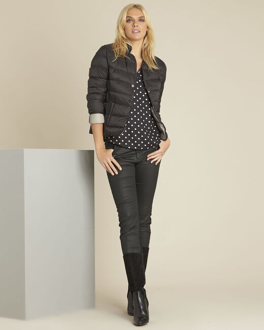 Penny short black down jacket with grey lining (1) - 1-2-3