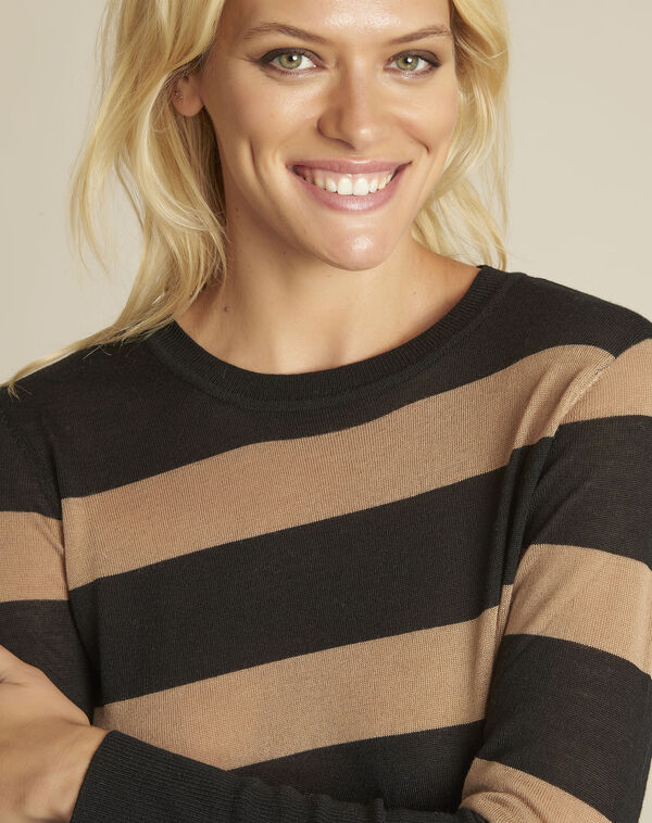Zwarte gestreepte trui van gemengd wol Bertin (2) - 37653