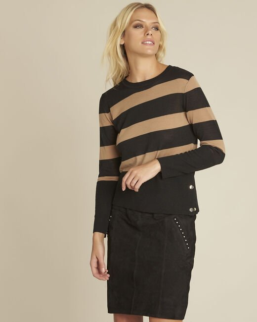 Bertin black striped wool mix pullover (2) - 1-2-3