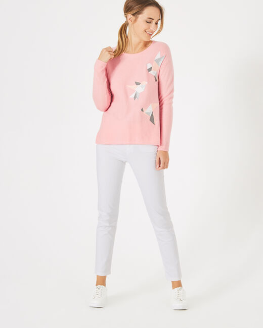 Perdrix pink, embroidered wool-blend sweater (1) - 1-2-3