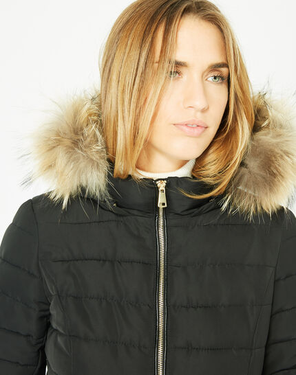 Rosie short black puffer jacket with a hood  (3) - 1-2-3