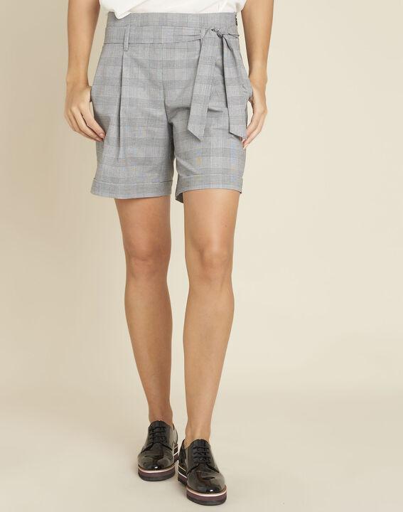 graue shorts mit glencheck muster und grtel sun 1 1 2 - Glencheck Muster