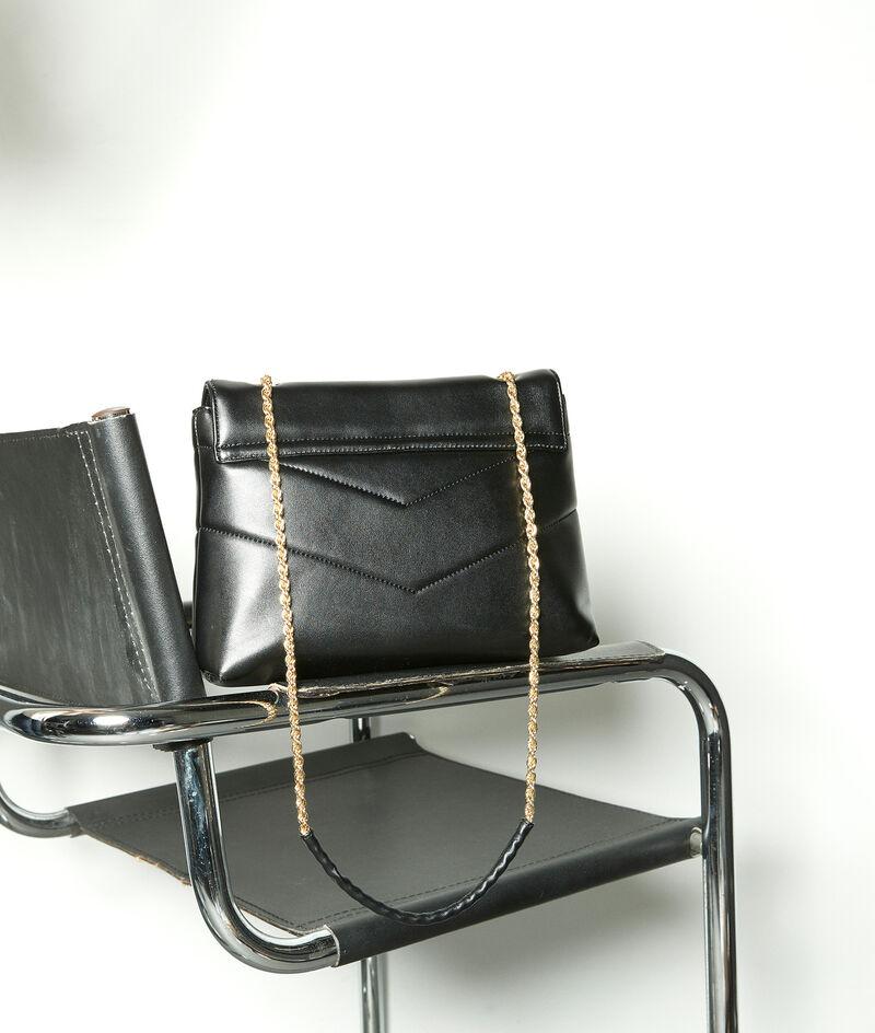Tasche aus gestepptem Glattleder schwarz Virginia PhotoZ | 1-2-3