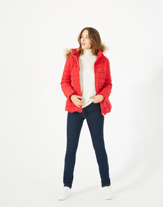 Rosie short red puffer jacket with hood PhotoZ | 1-2-3