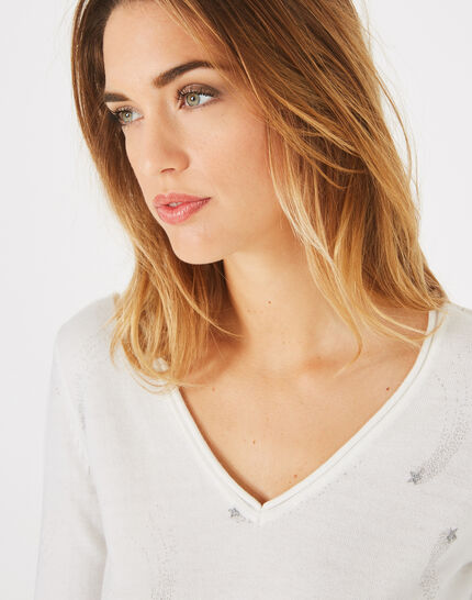 Pénélope off-white V-neck sweater with star print (3) - 1-2-3