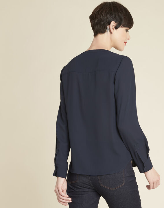 Cameila navy blue blouse with decorative neckline (4) - 1-2-3