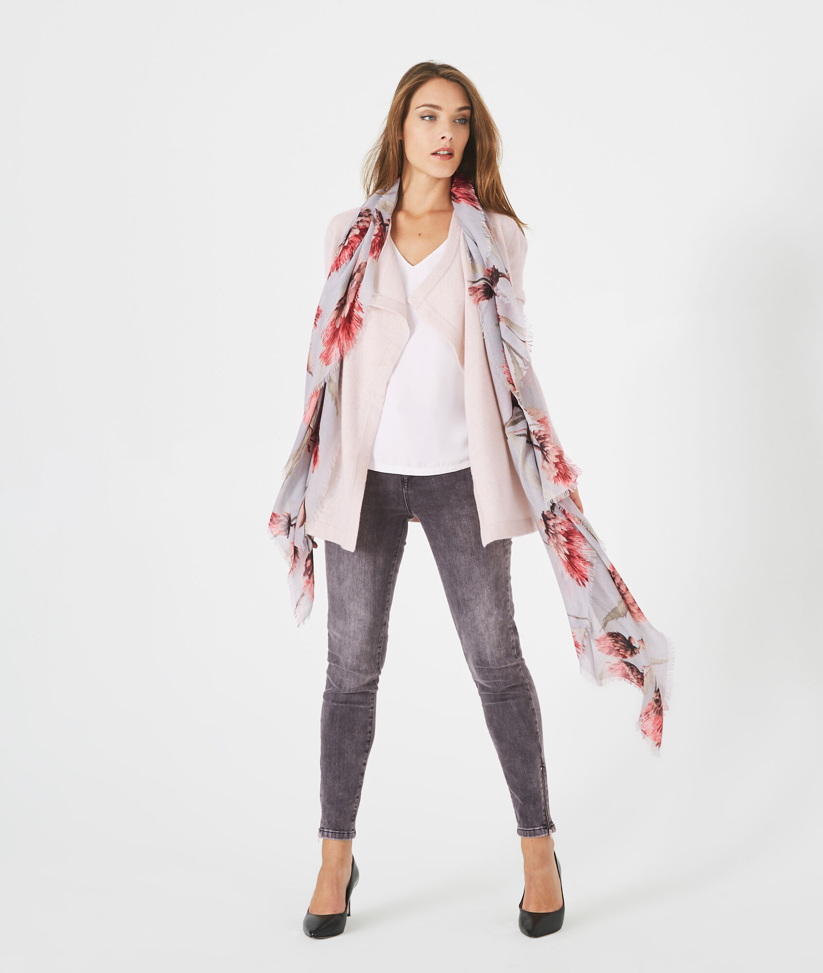 Pimprenelle powder pink, shiny cashmere, waterfall cardigan - 123