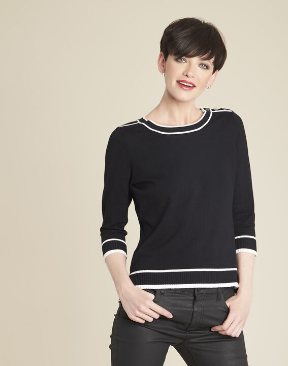 Bella black sweater with contrasting ribbed trim PhotoZ | 1-2-3