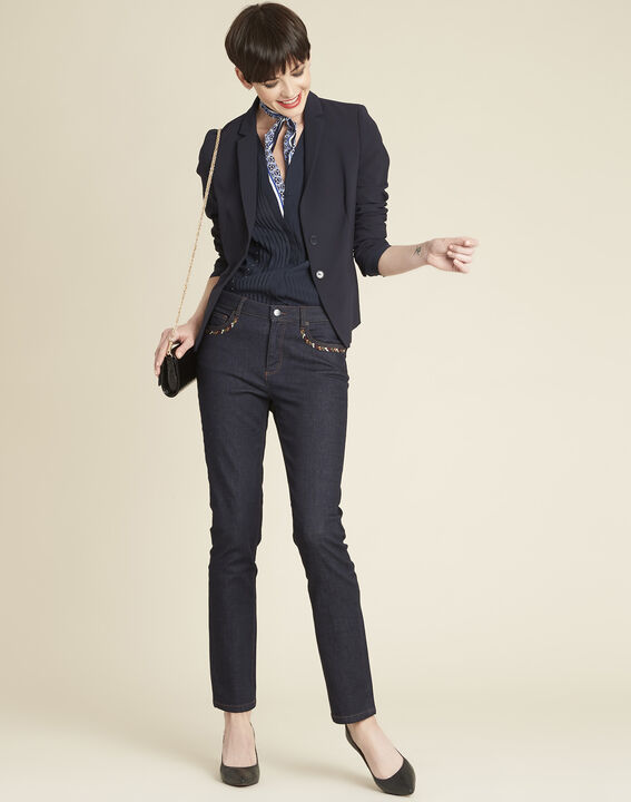 Eve navy blue short tailored jacket (2) - 1-2-3
