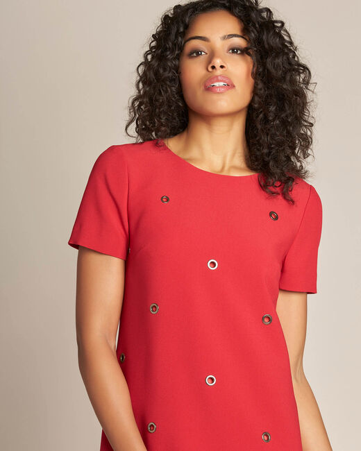 Adelie red straight-cut dress with eyelets (2) - 1-2-3