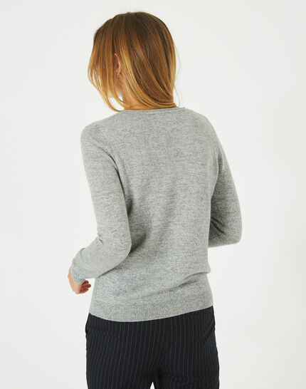 Paquerette grey cashmere sweater with V-neck (4) - 1-2-3