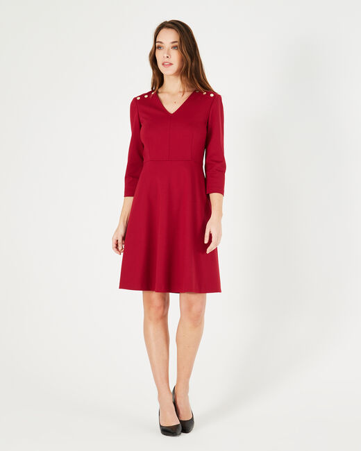Paix flowing red dress with golden buttons (2) - 1-2-3
