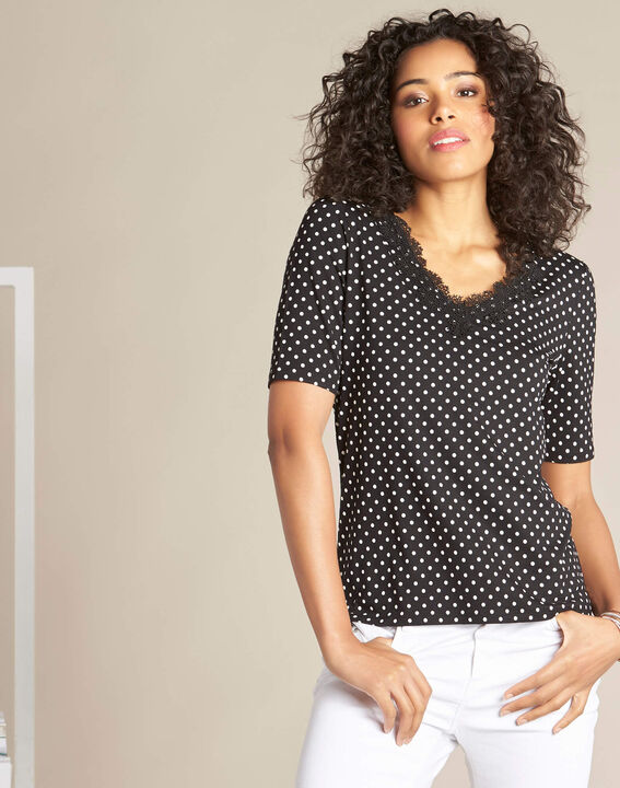 Eloge polka dot T-shirt in black with lace neckline (3) - 1-2-3