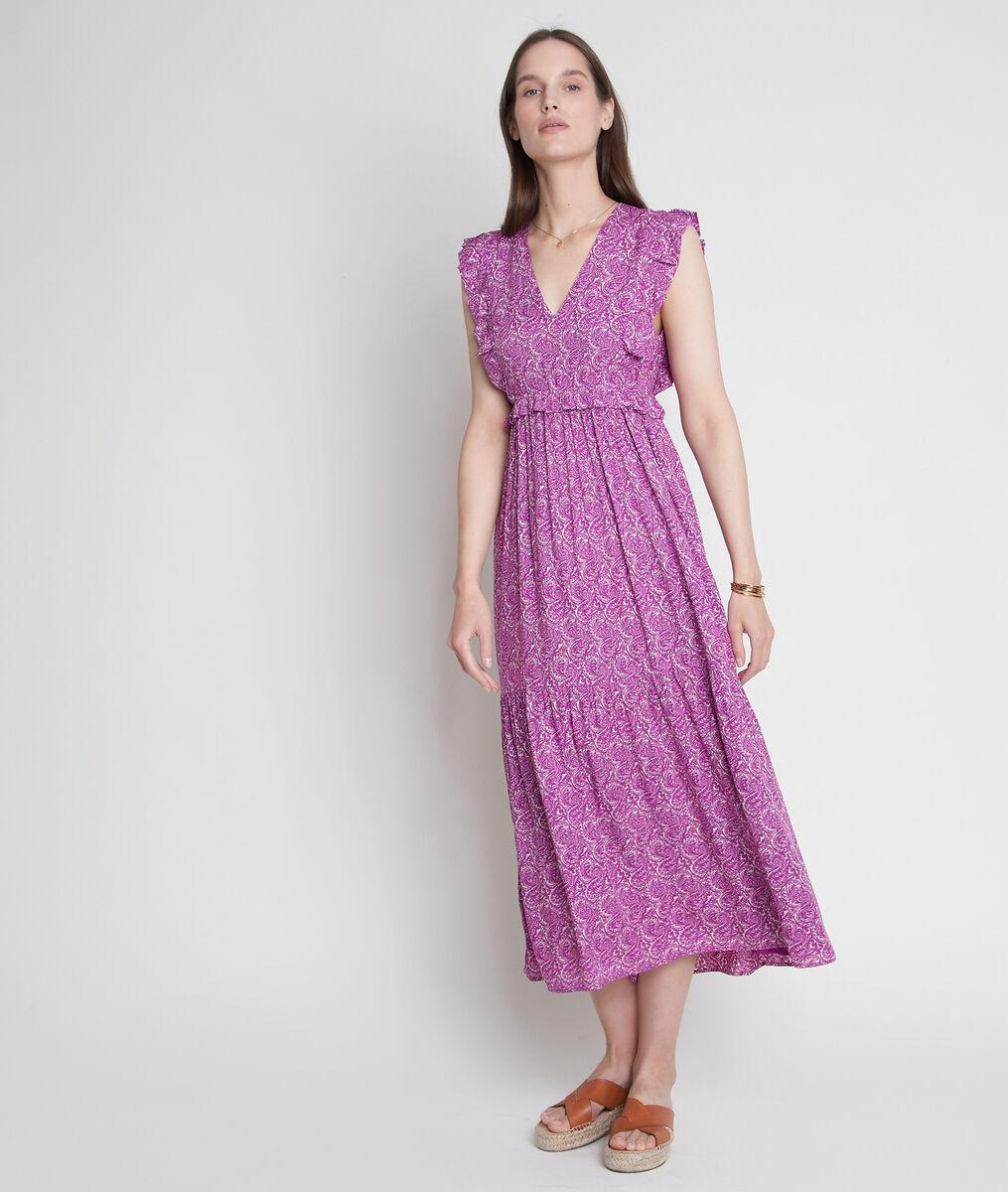 Robe longue imprimée violette Lavande PhotoZ | 1-2-3