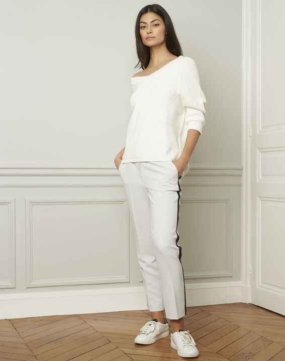 Pull crème col V en coton et laine Ankara (2) - Maison 123