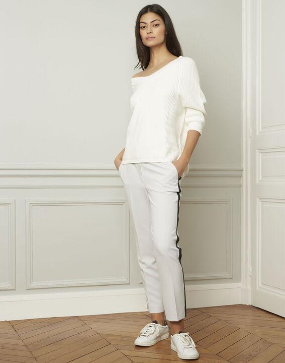 Ankara cream cotton and wool blend V-neck pullover (2) - 1-2-3