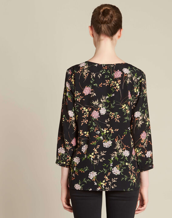 Schwarze Bluse mit Blumenprint Anouchka PhotoZ | 1-2-3
