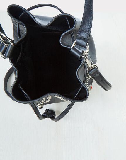 Sac noir forme bourse en cuir Rock (4) - 1-2-3