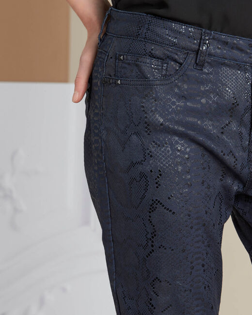 Vendôme python print navy blue coated jeans (2) - 1-2-3
