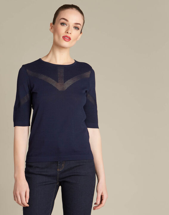 Nymphe navy blue sweater with spotted detailing (3) - 1-2-3