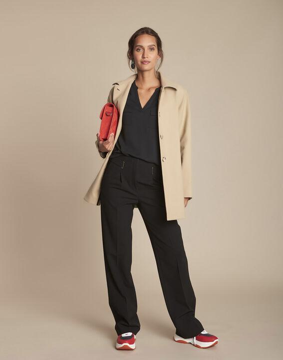 Zwarte blouse uit twee materialen Genna (3) - Maison 123