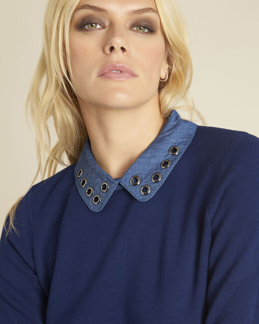 Bianca blue jumper with Peter Pan collar (1) - 1-2-3