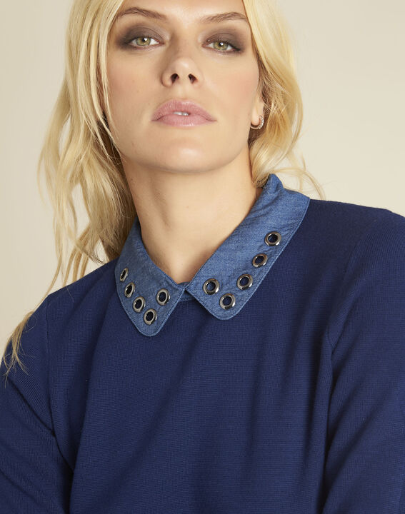Bianca blue jumper with Peter Pan collar (2) - 1-2-3