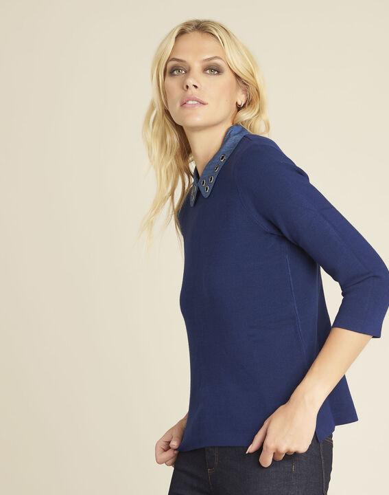 Blauwe trui met originele claudinekraag Bianca (1) - Maison 123