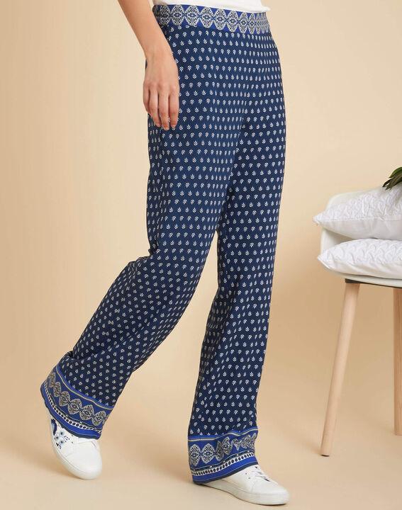 Pantalon bleu large imprimé Siroma (3) - 1-2-3