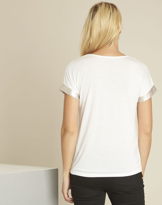Gimini white t-shirt with faux leather panel (4) - 1-2-3