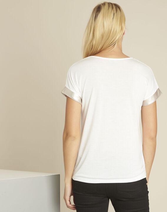 Tee-shirt blanc empiècement faux cuir Gimini (4) - 1-2-3