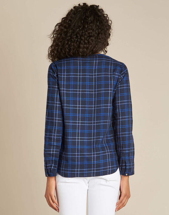 Murielle navy blue check shirt (4) - 1-2-3
