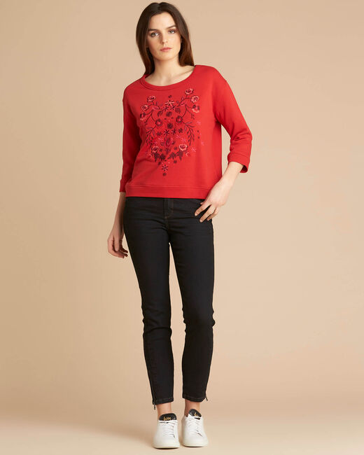 Eldorado red embroidered sweatshirt with 3/4 length sleeves (1) - 1-2-3