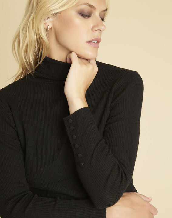 Basile black polo neck sweater in a fine knit (3) - Maison 123
