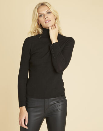 Basile black polo neck sweater in a fine knit black.