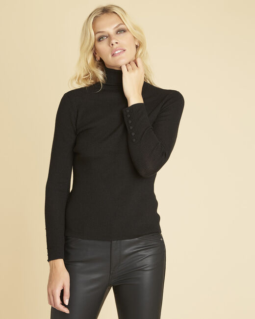 Basile black polo neck sweater in a fine knit (2) - 1-2-3