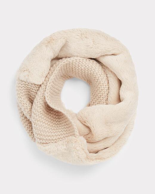 Echarpe crème ronde en laine mélangée Tigresse (1) - 1-2-3