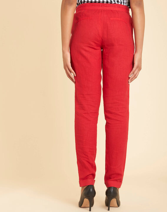 Pantalon rouge en lin Joris (4) - 1-2-3