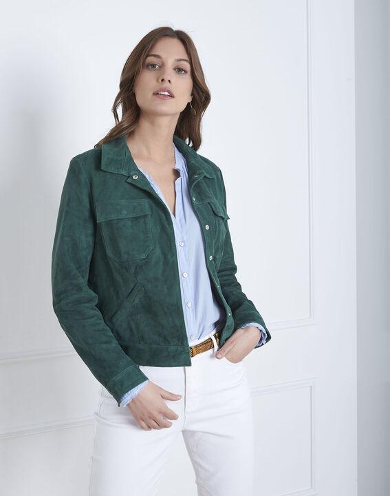 Veste verte poches plaquées cuir velours Frisbee (2) - Maison 123
